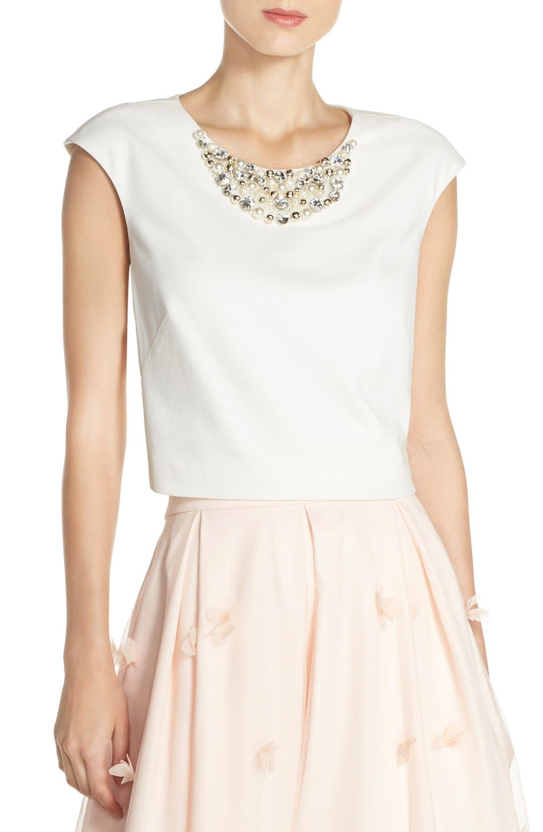 Embellished Crop Top,                             Main thumbnail 1, color,                             Ivory