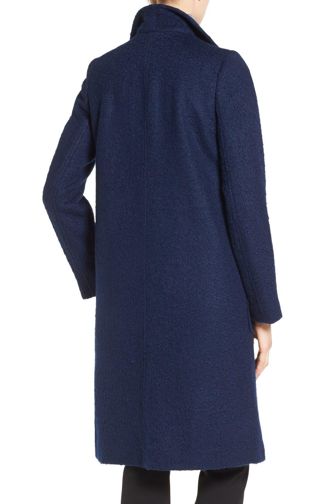Textured Long Coat,                             Alternate thumbnail 2, color,                             Evening Blue