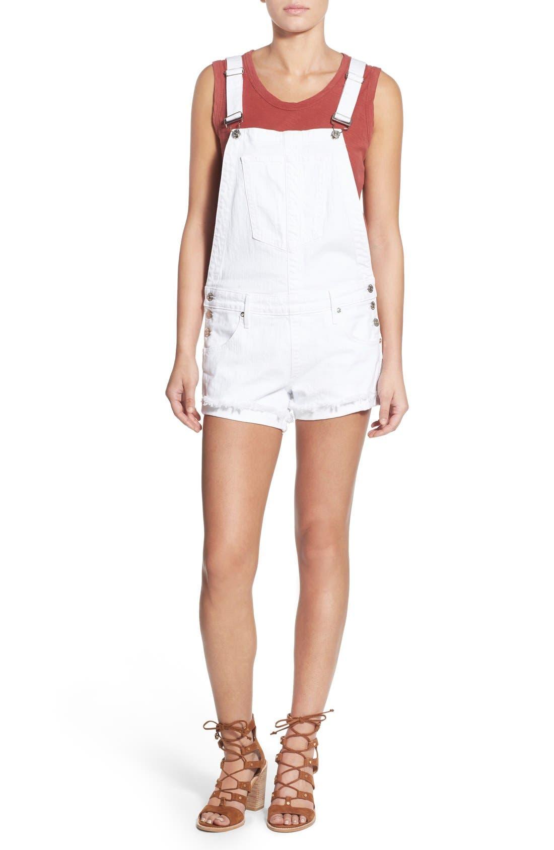 Alternate Image 2  - True Religion Brand Jeans Denim Short Overalls (Optic White)