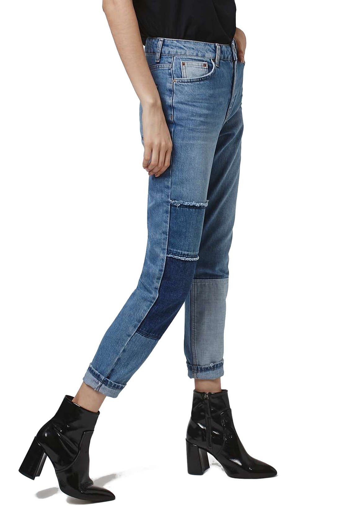 Mom Patchwork High Rise Jeans,                         Main,                         color, Blue