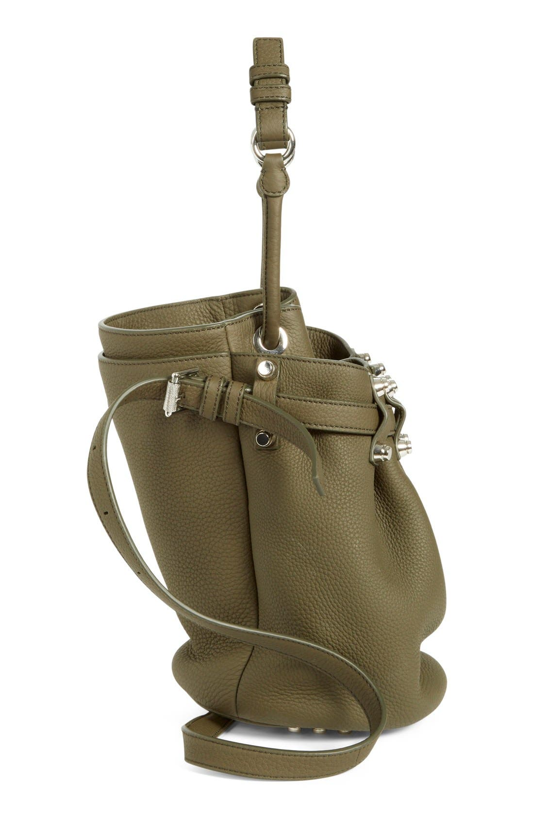 'Small Diego - Nickel' Leather Bucket Bag,                             Alternate thumbnail 5, color,                             Grass