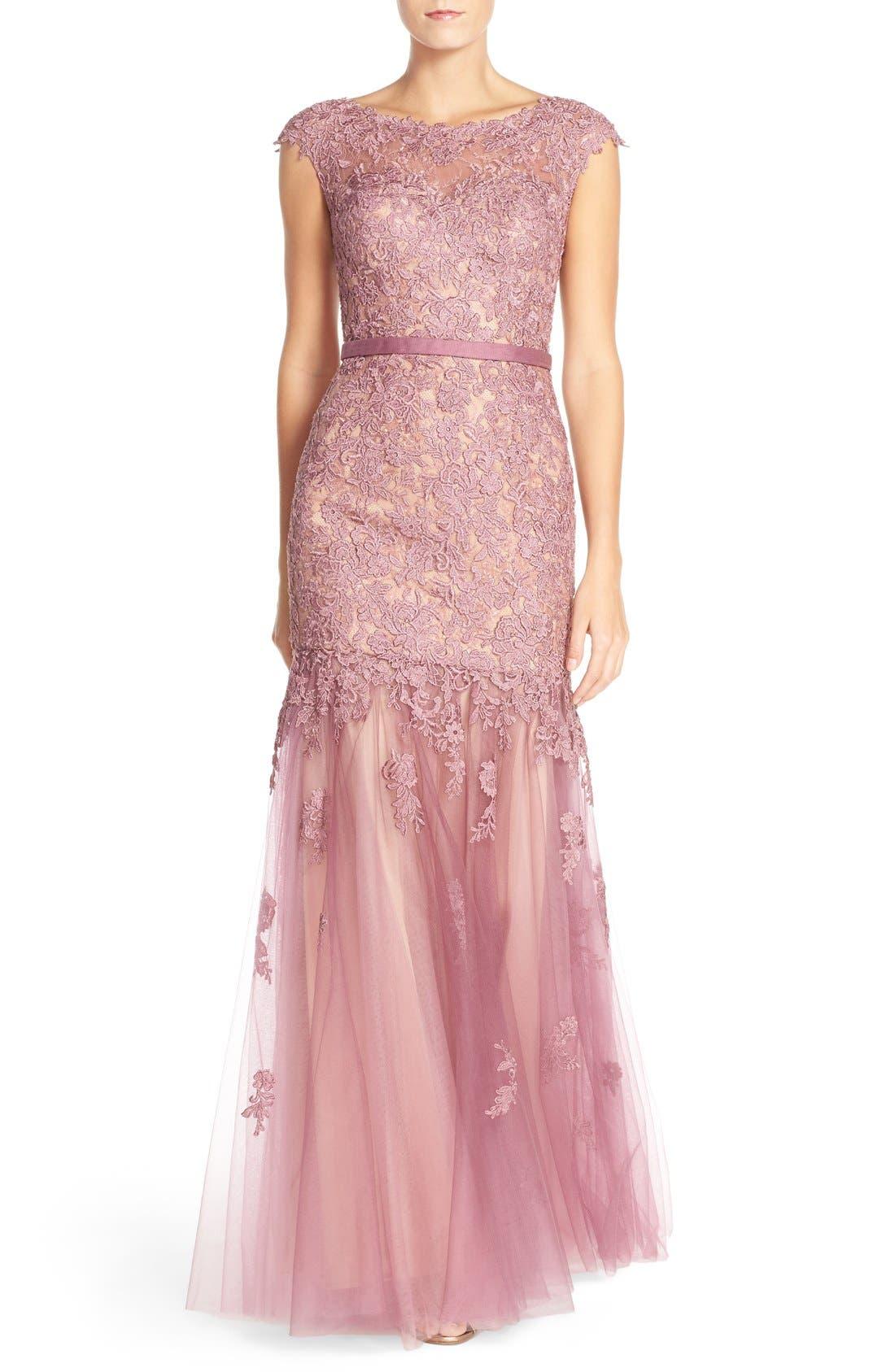 LA FEMME Lace & Tulle Mermaid Gown