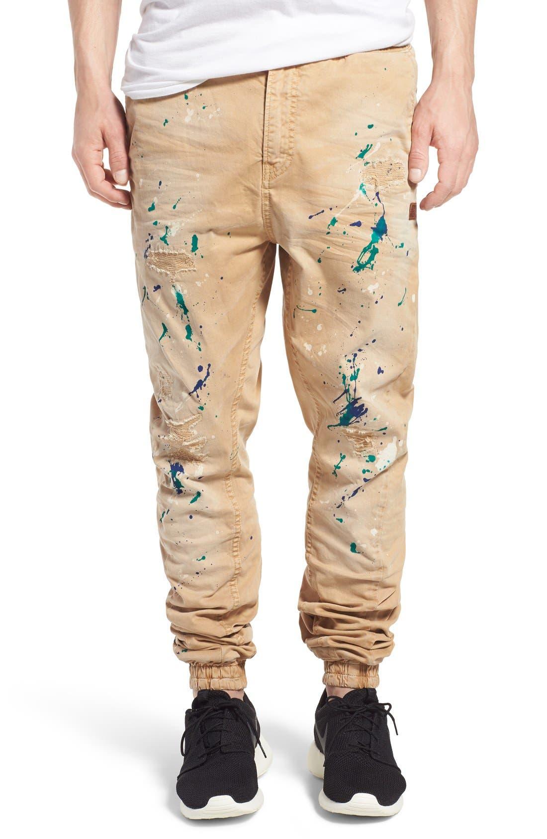 'Damiana' Splatter Paint Stretch Woven Jogger Pants,                         Main,                         color, Khaki