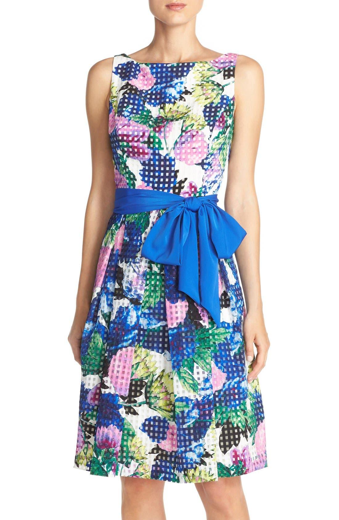 Alternate Image 1 Selected - Eliza J Floral Check Organza Fit & Flare Dress