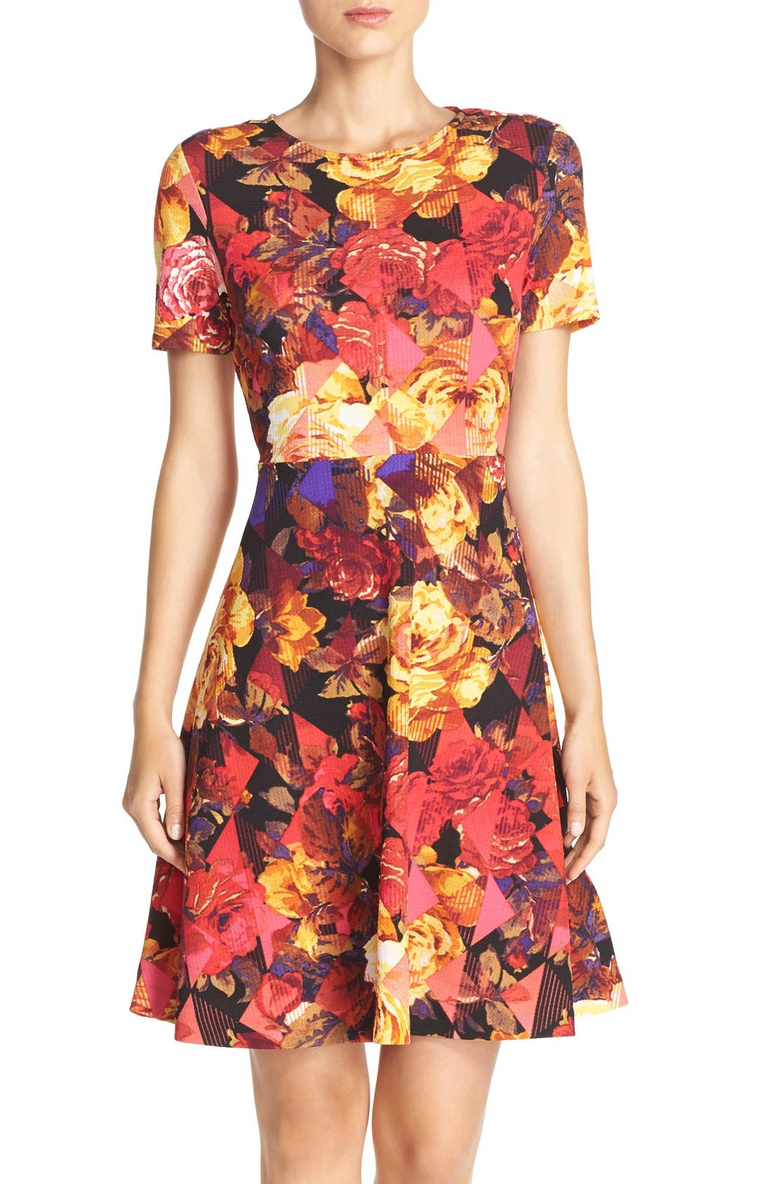 Alternate Image 1 Selected - ECI Floral Print Fit & Flare Dress