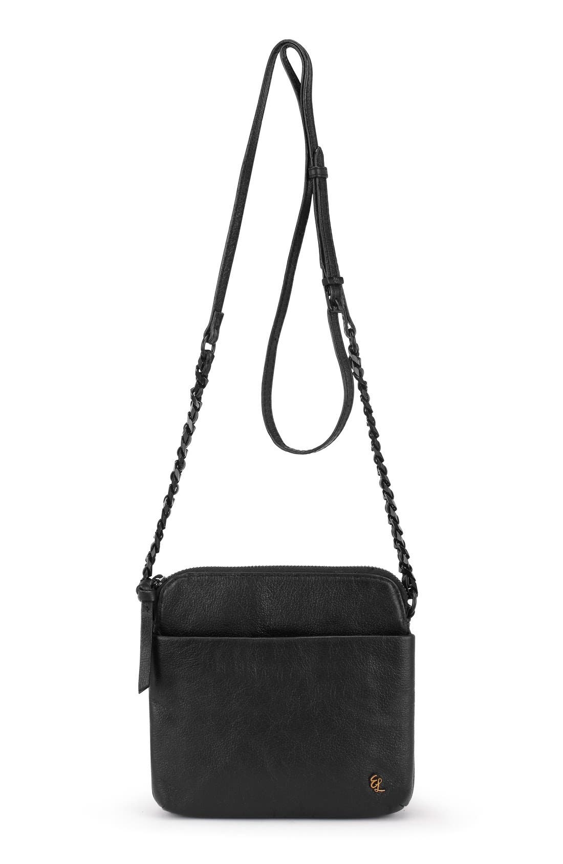 'Zoe Camera' Leather Crossbody Bag,                             Main thumbnail 1, color,                             Black