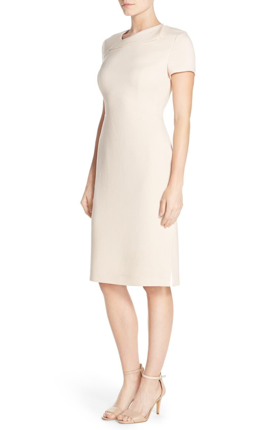 Alternate Image 3  - Vince Camuto Asymmetrical Crepe Sheath Dress (Regular & Petite)