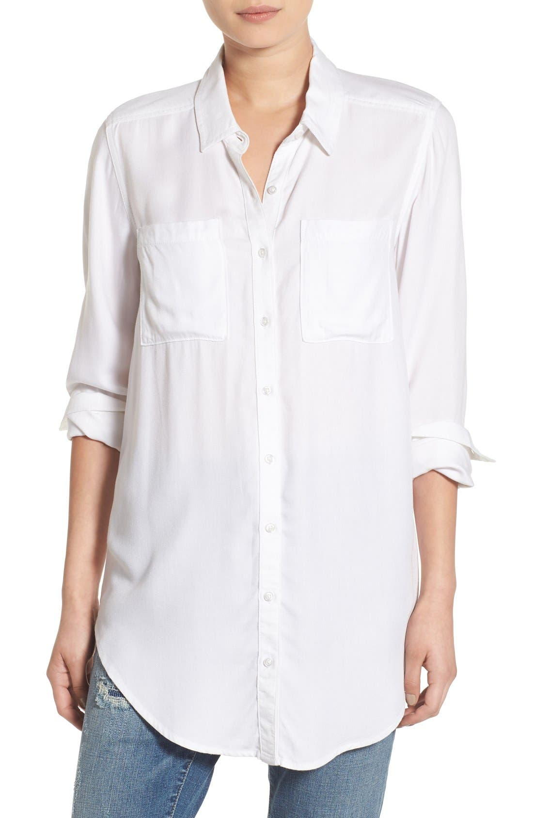 Woven Twill Tunic,                         Main,                         color, White