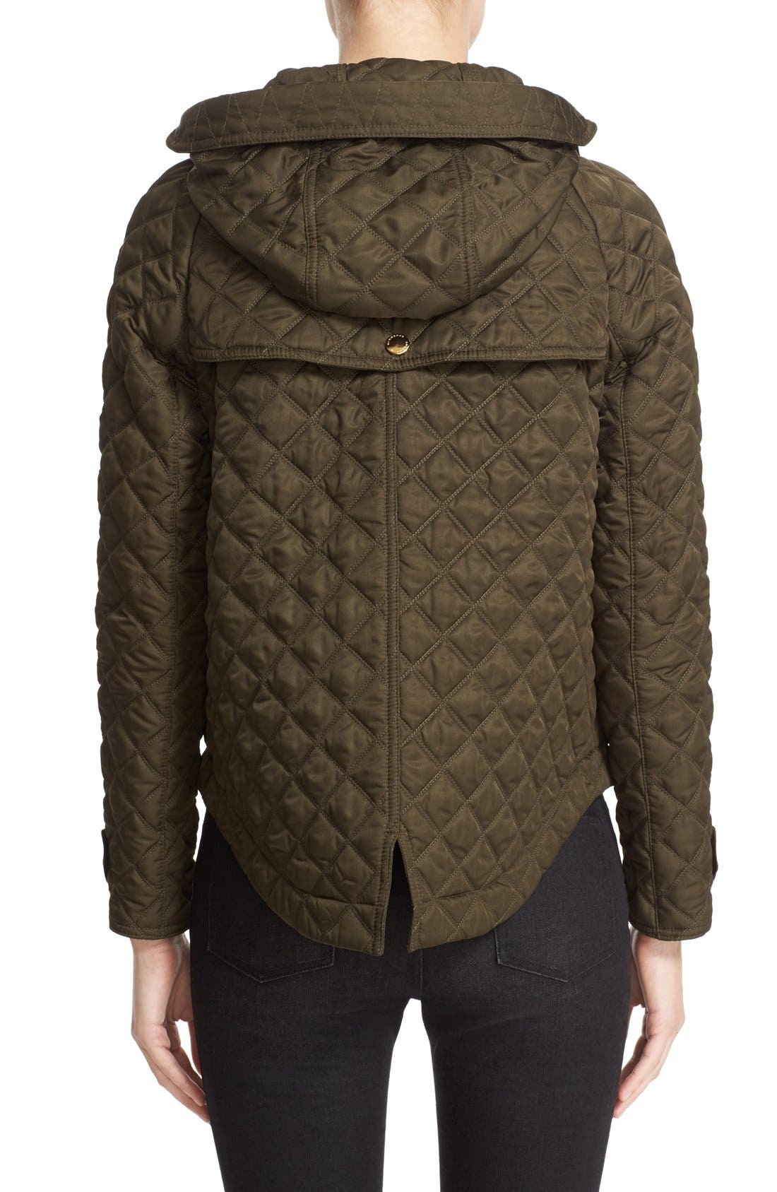 'Leightonbury' Quilted Hooded Jacket,                             Alternate thumbnail 2, color,                             Dark Olive