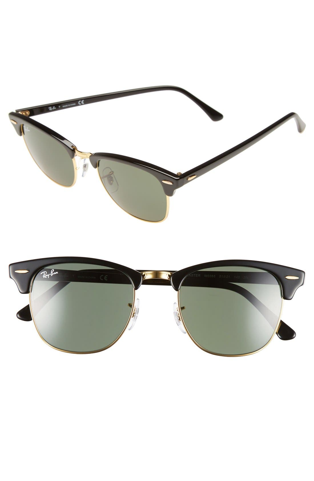 Classic Clubmaster 51mm Sunglasses,                         Main,                         color, Black/ Green