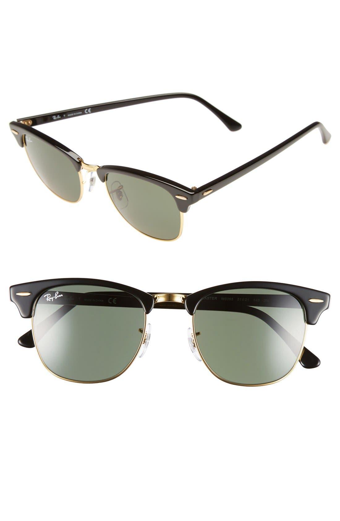 Classic Clubmaster 51mm Sunglasses,                         Main,                         color, Black/ Green