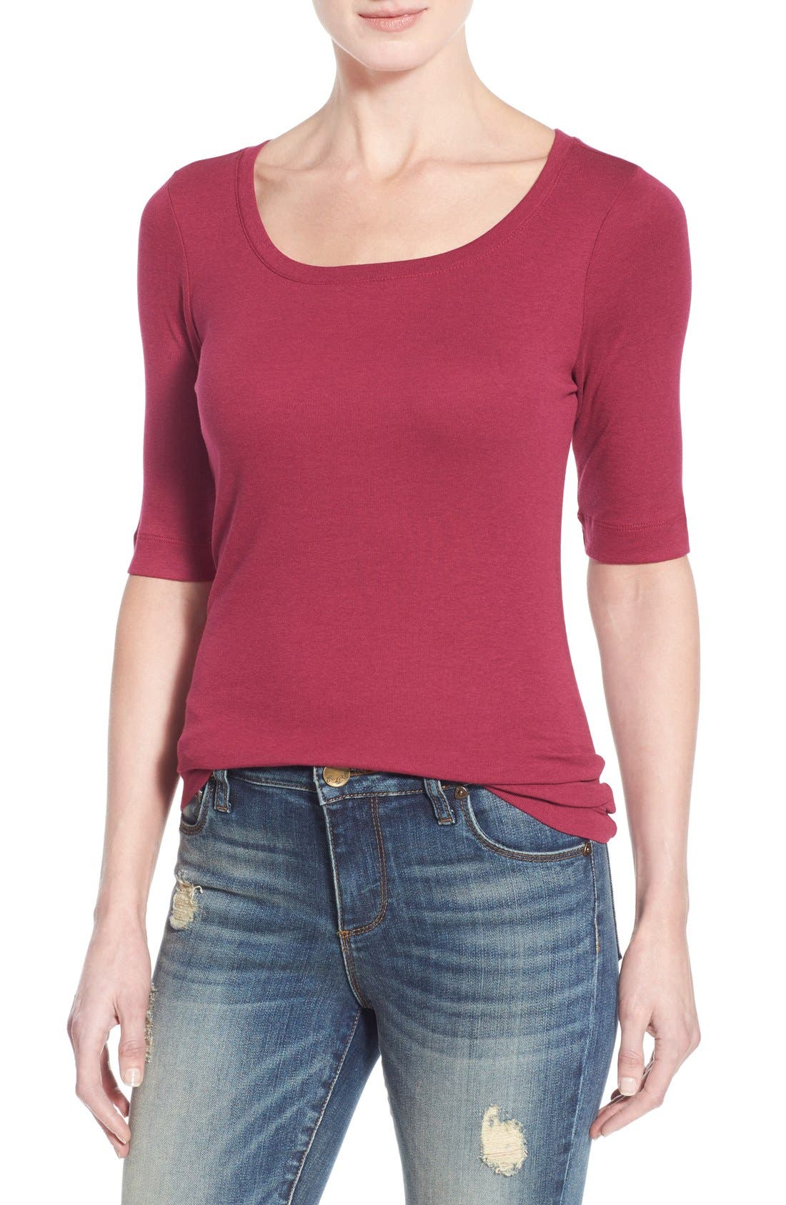 Ballet Neck Cotton & Modal Knit Elbow Sleeve Tee,                         Main,                         color, Purple Fuchsia