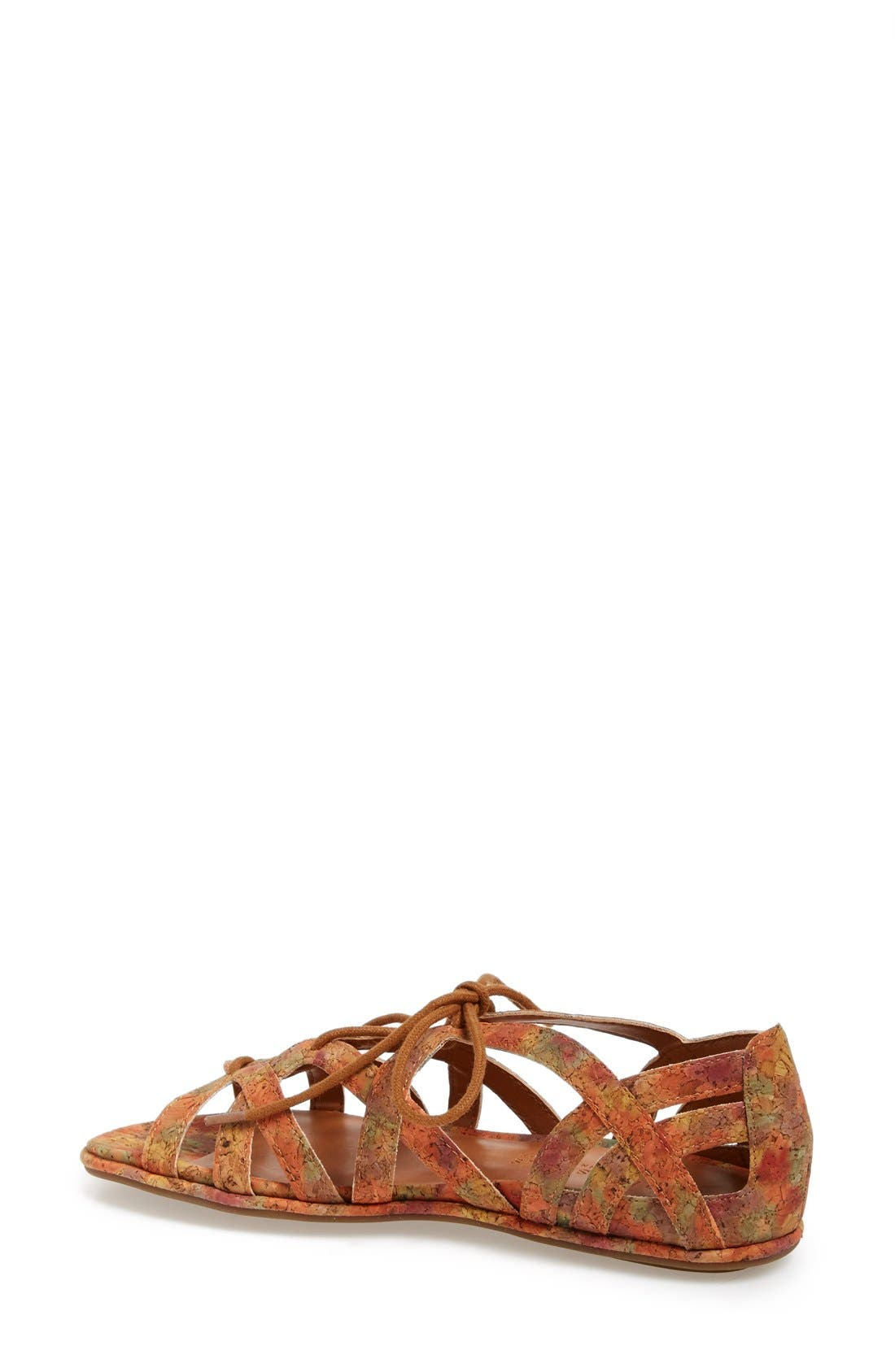 'Orly' Lace-Up Sandal,                             Alternate thumbnail 5, color,                             Natural/ Floral Cork