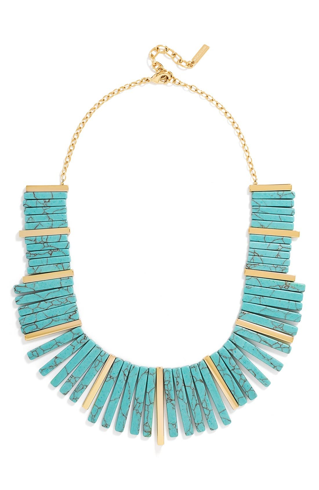 Stone Bib Necklace,                             Main thumbnail 1, color,                             Gold/ Turquoise