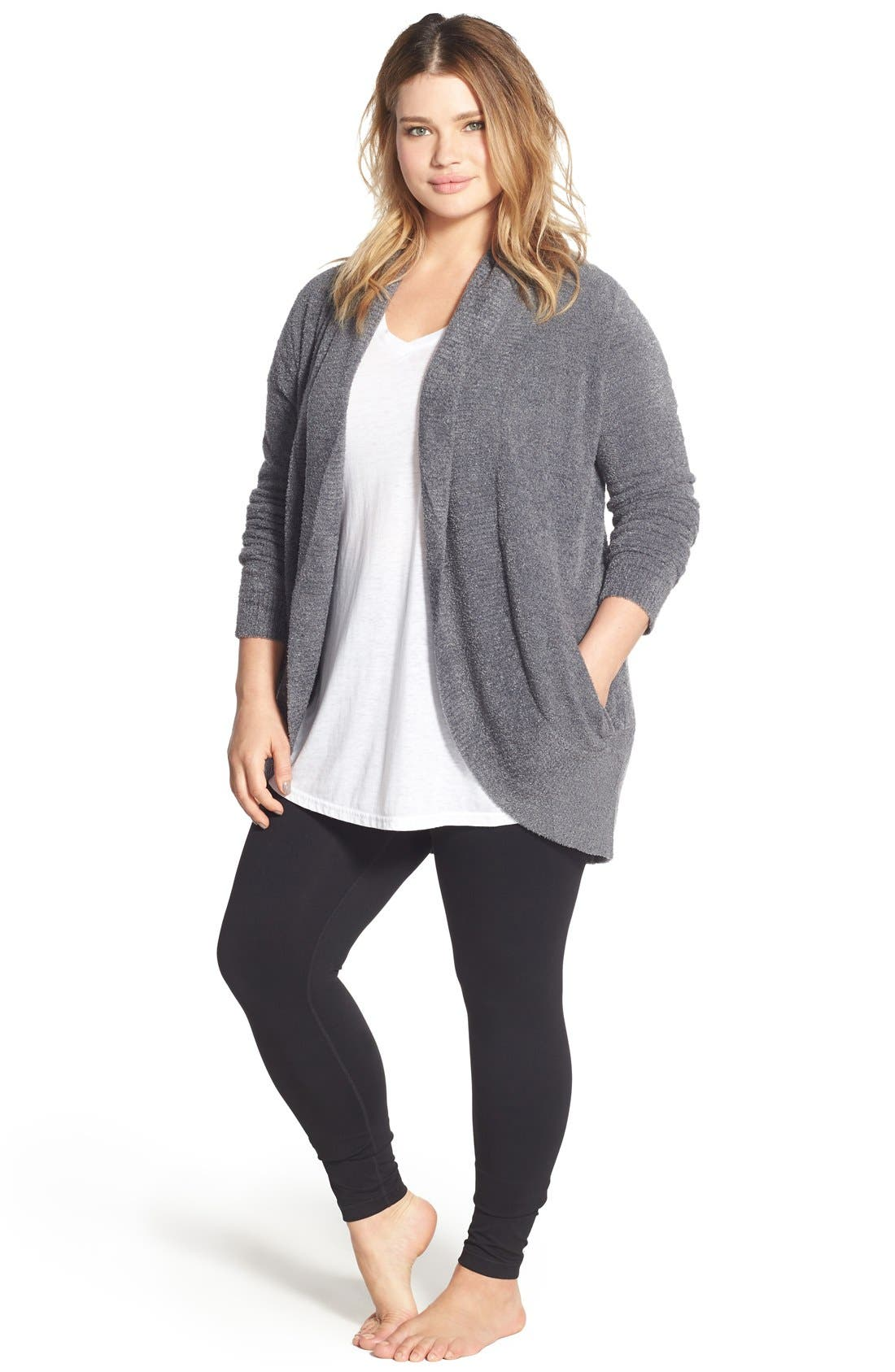Alternate Image 6  - Barefoot Dreams® CozyChic Lite® Circle Cardigan (Plus Size)