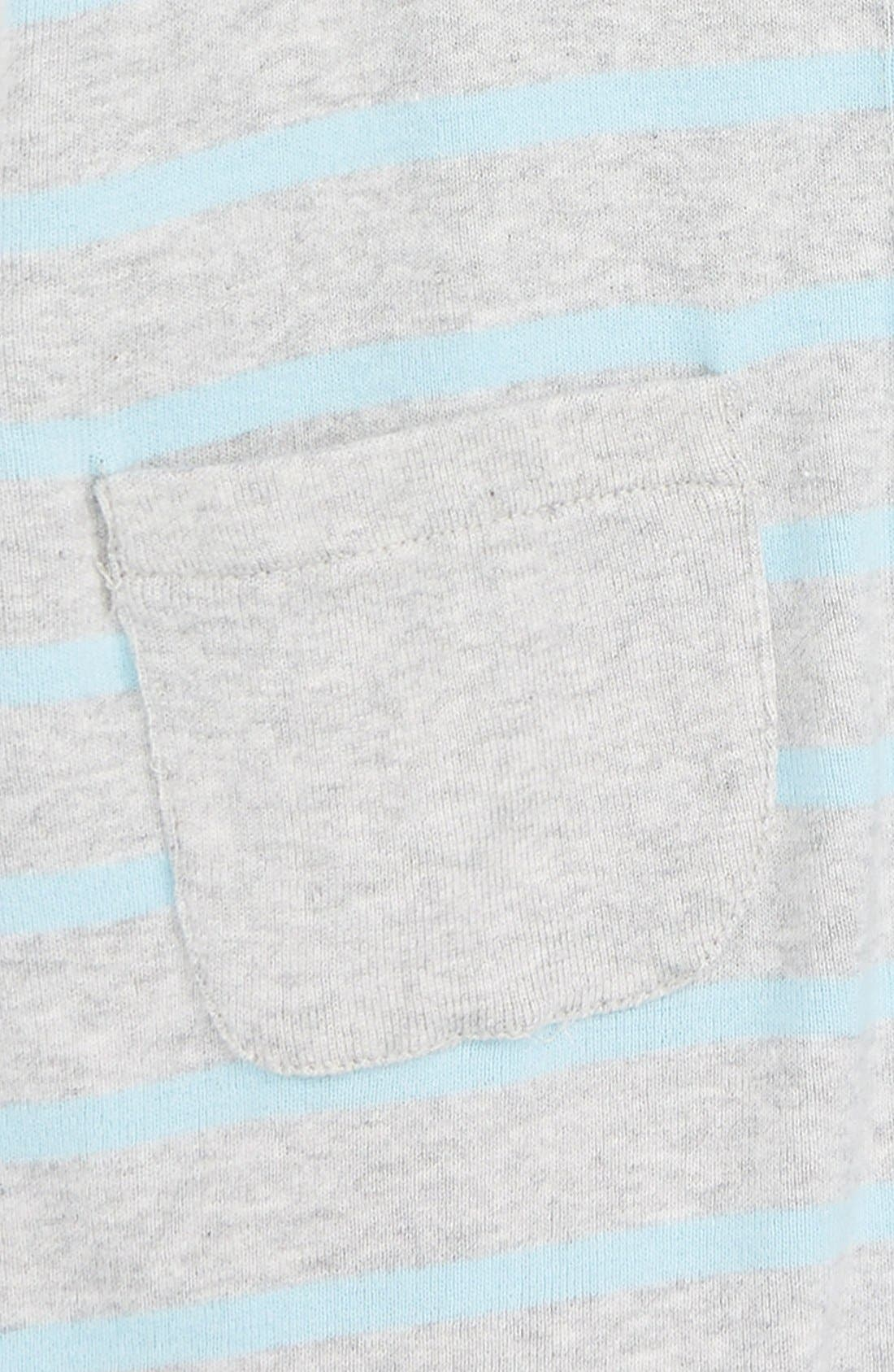Stripe Hooded Romper,                             Alternate thumbnail 2, color,                             Blue Sky Breton