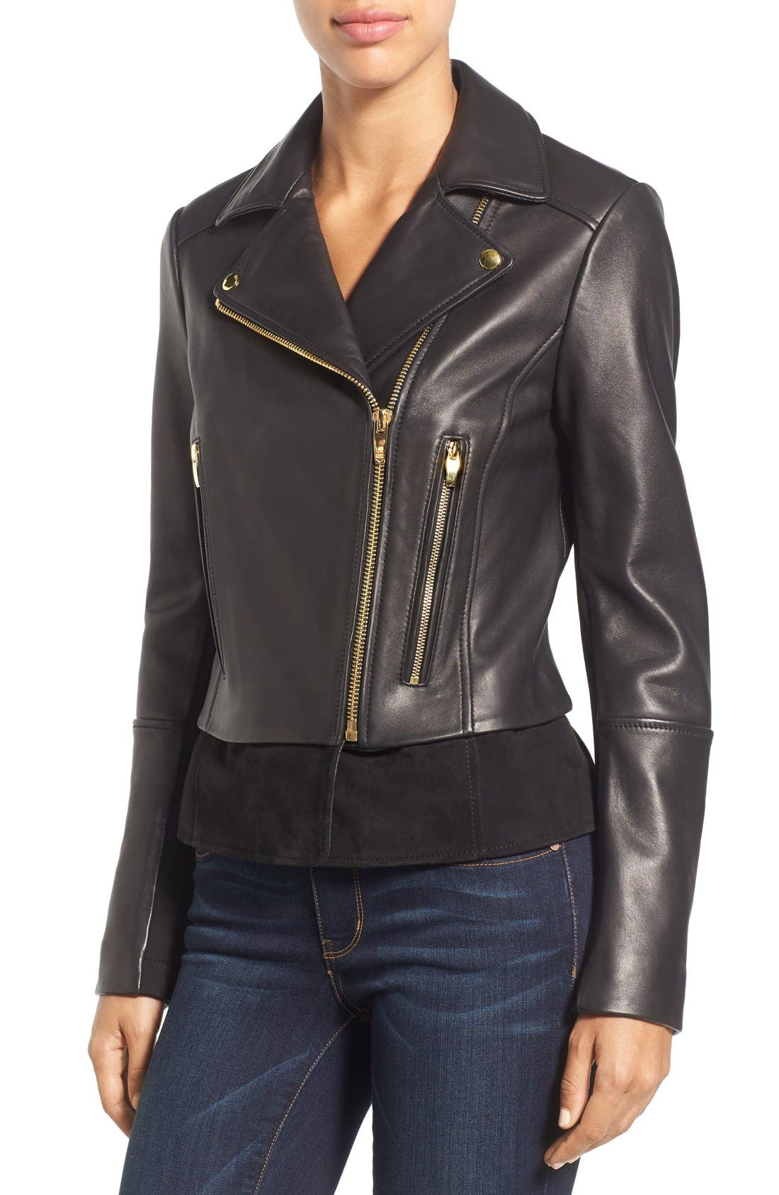 Mixed Media Leather Moto Jacket,                             Alternate thumbnail 4, color,                             Black