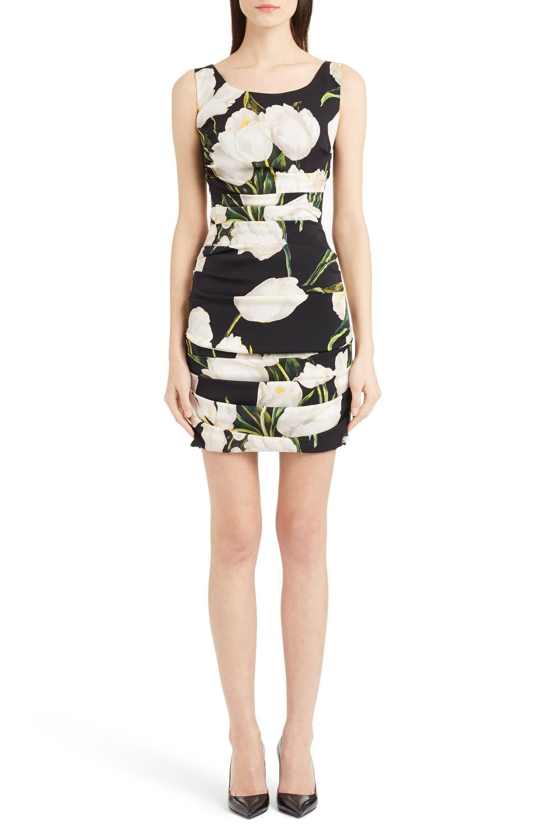 Main Image - Dolce&Gabbana Ruched Tulip Print Stretch Silk Charmeuse Dress