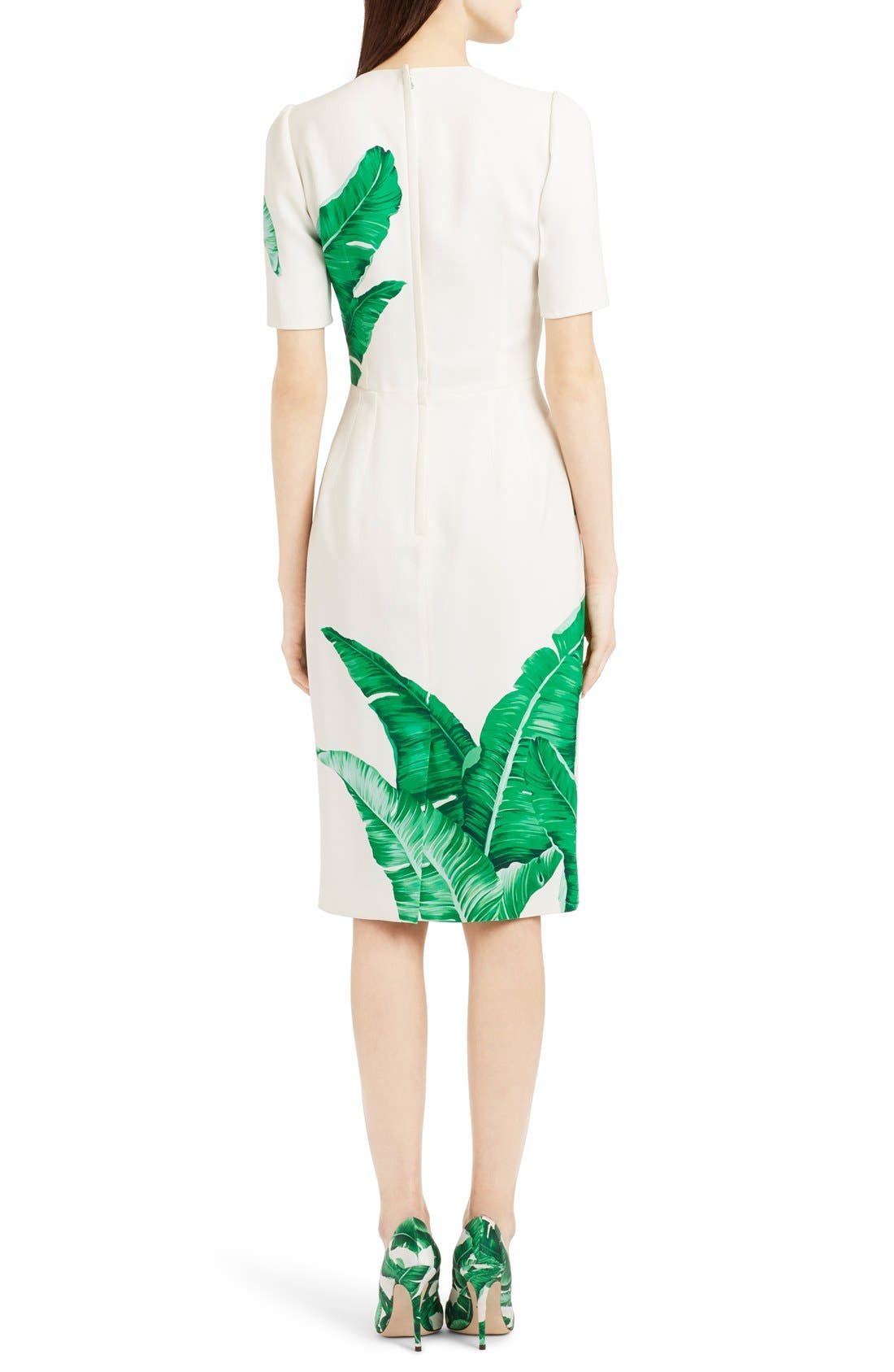 Alternate Image 2  - Dolce&Gabbana Banana Leaf Print Cady Dress