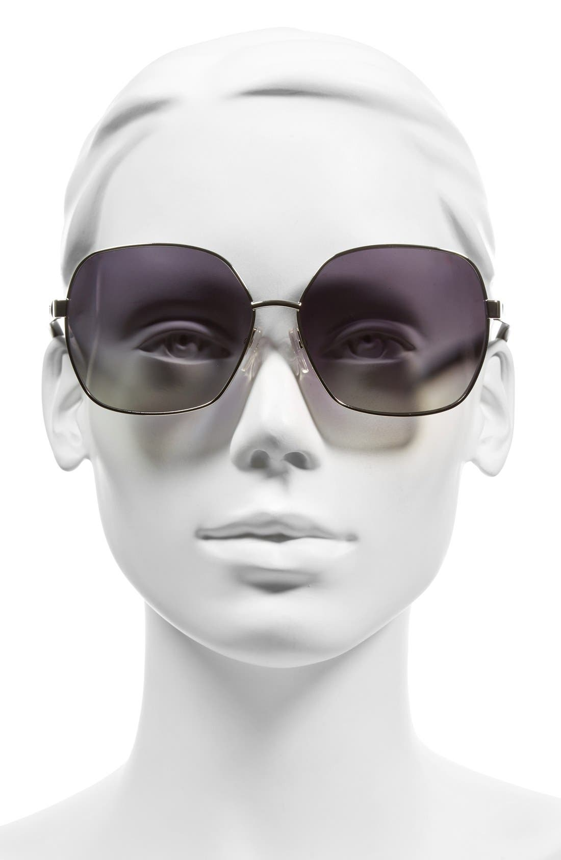 61mm Polarized Oversized Sunglasses,                             Alternate thumbnail 2, color,                             Palladium/ Black