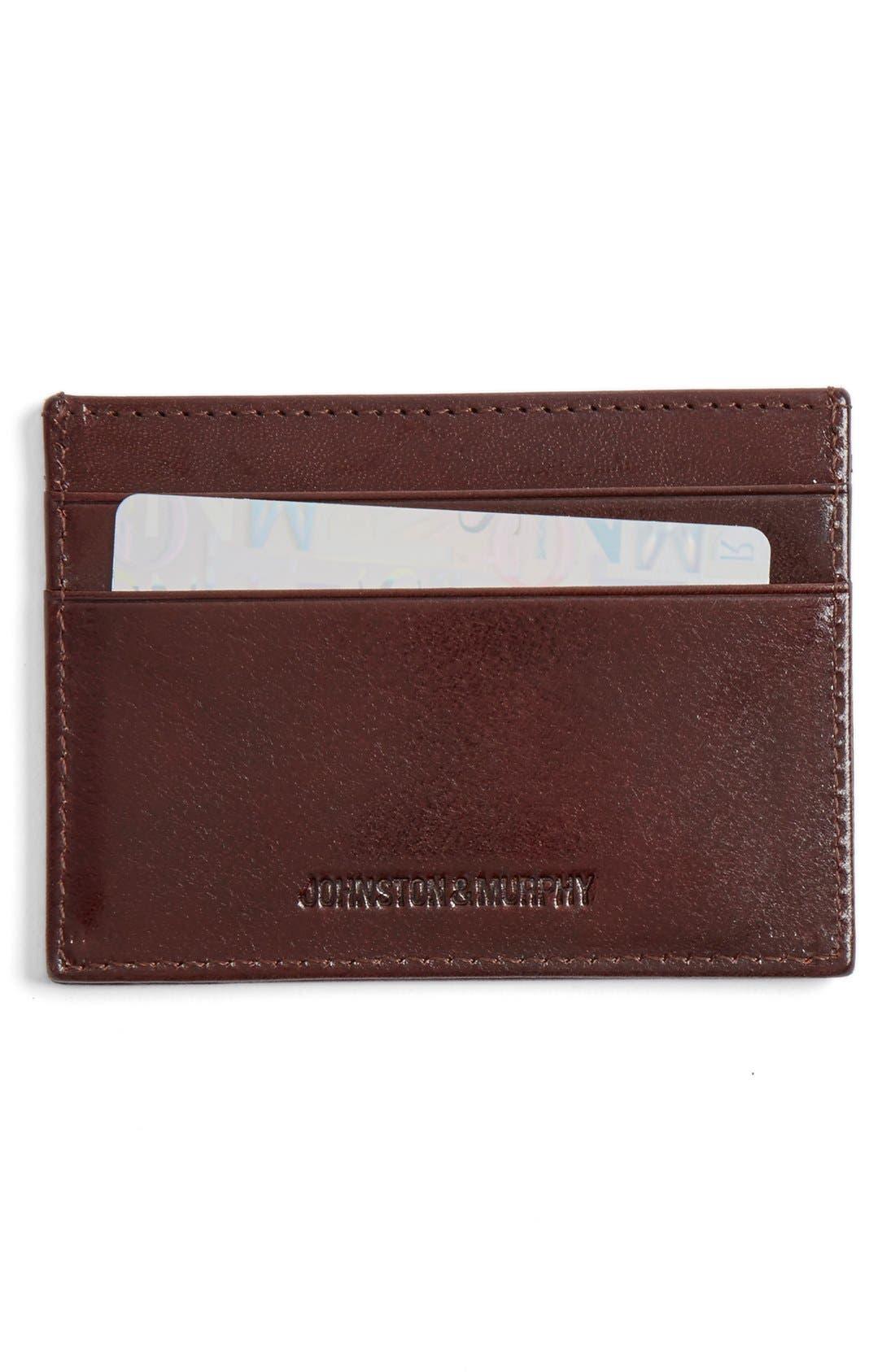 Leather Card Case,                             Main thumbnail 1, color,                             Mahogany