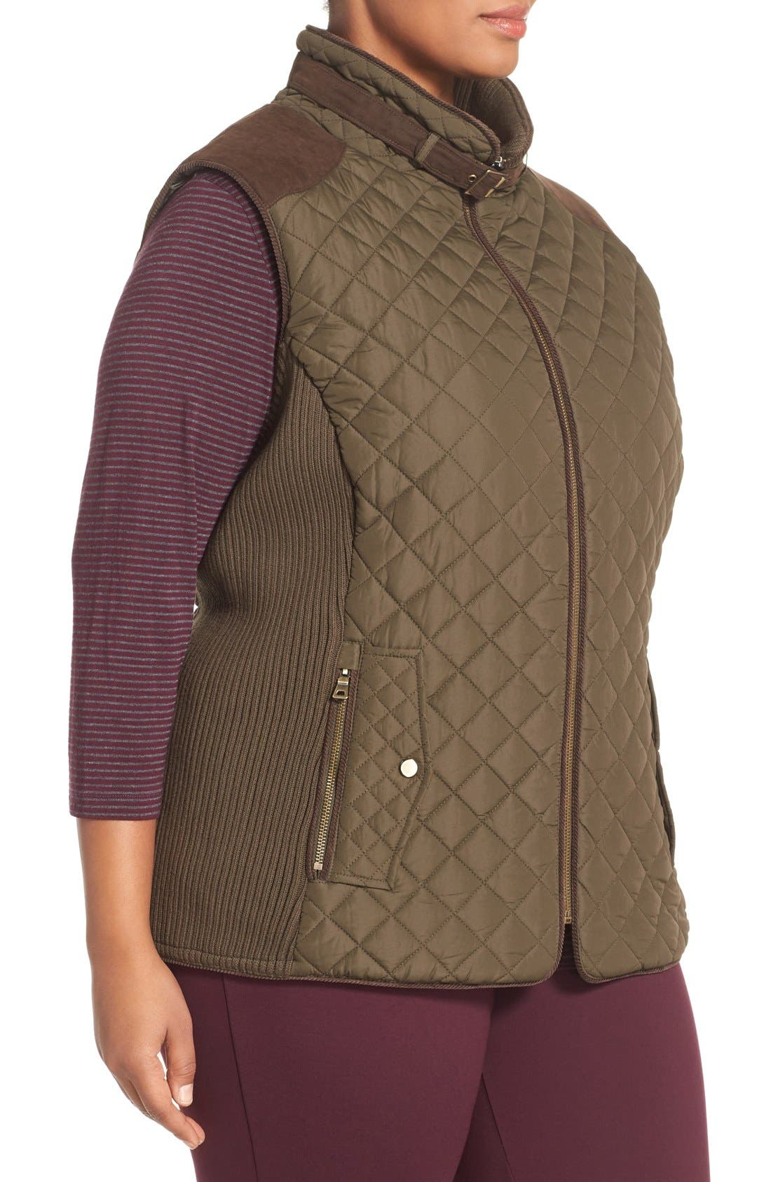 Quilted Vest with Faux Suede Trim,                             Alternate thumbnail 3, color,                             Fatigue