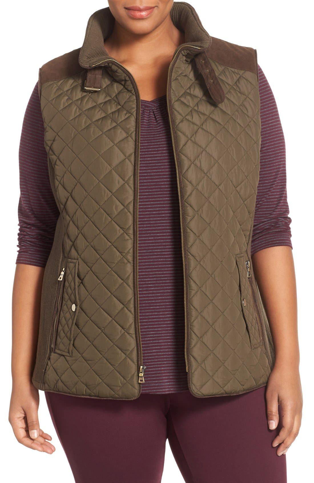 Quilted Vest with Faux Suede Trim,                         Main,                         color, Fatigue