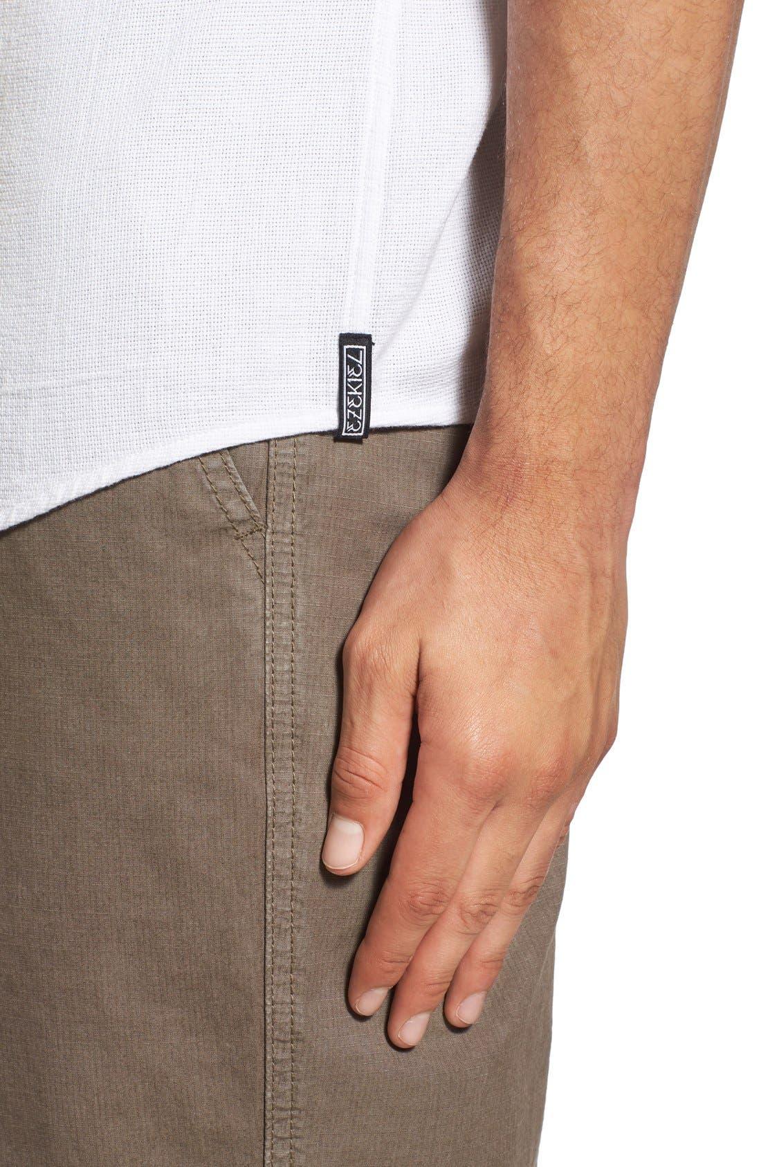 'Highland' Regular Fit Short Sleeve Woven Shirt,                             Alternate thumbnail 4, color,                             White