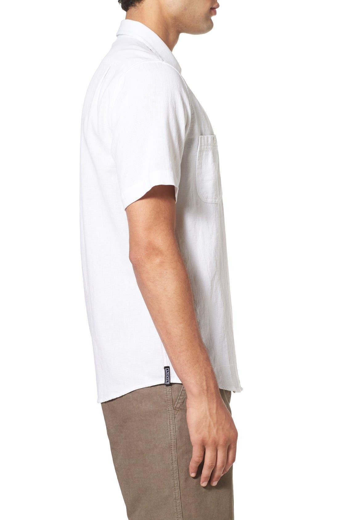 'Highland' Regular Fit Short Sleeve Woven Shirt,                             Alternate thumbnail 3, color,                             White