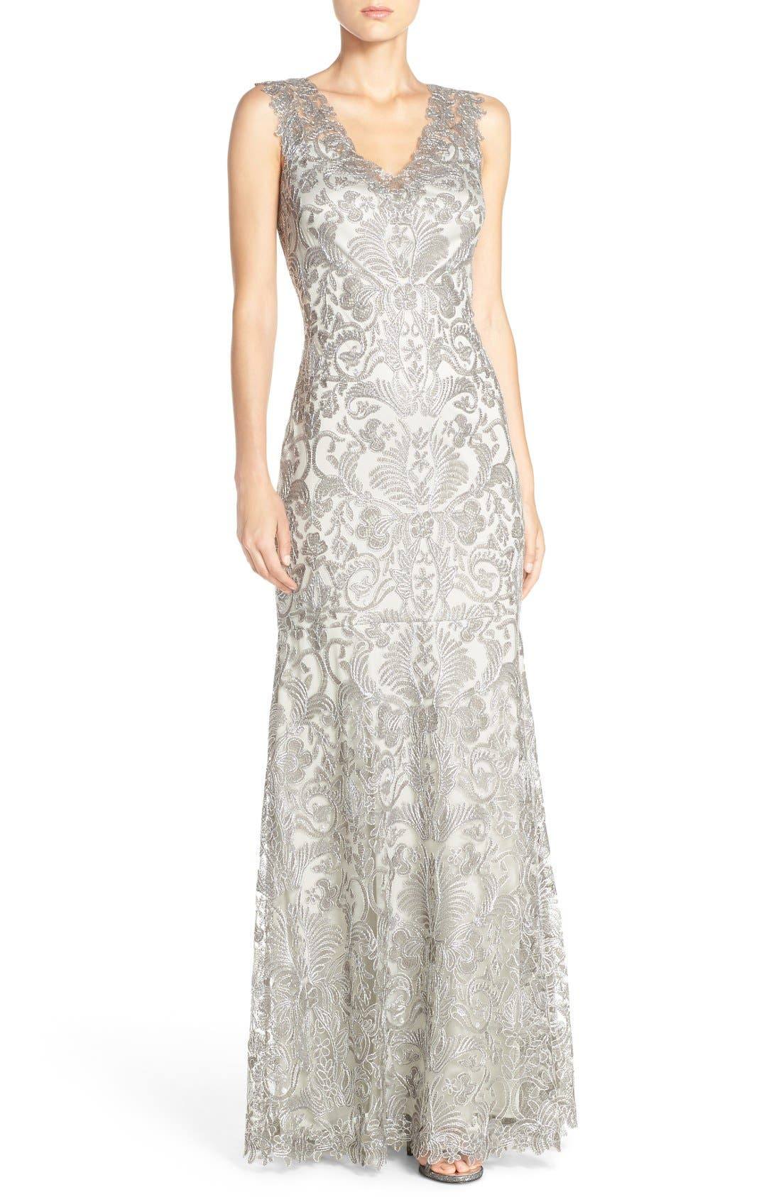 Kelly Embroidered Mermaid Gown,                         Main,                         color, Ash Grey