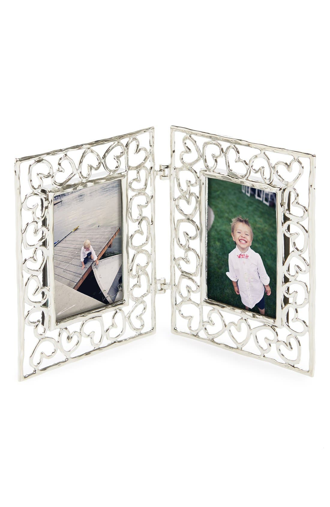 'Baby Heirloom - Heart' Folding Double Mini Picture Frame,                             Main thumbnail 1, color,                             No Color