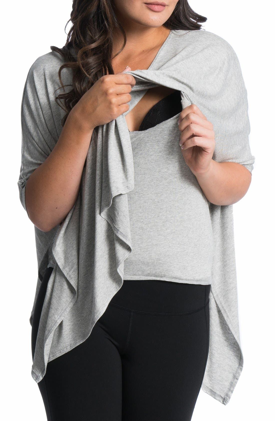 'Breezy' Maternity/Nursing Poncho,                         Main,                         color, Grey