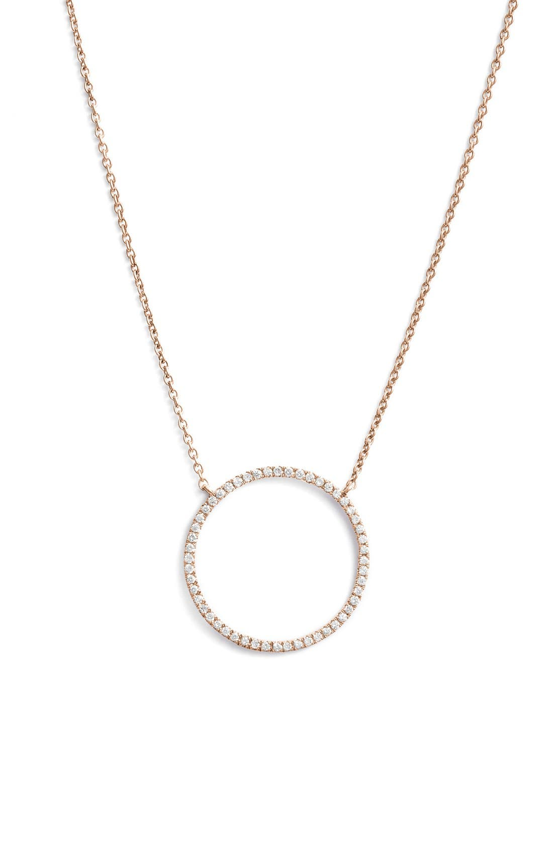 'Simple Obsessions' Circle Pendant Necklace,                         Main,                         color, Rose Gold