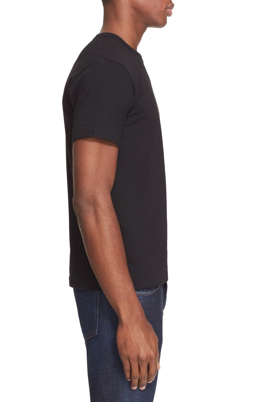 Comme des Garçons PLAY Cotton Jersey Crewneck T-Shirt,                             Alternate thumbnail 3, color,                             Black