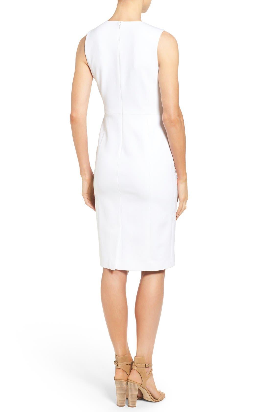 Pleat Waist Sleeveless Ponte Sheath Dress,                             Alternate thumbnail 2, color,                             White