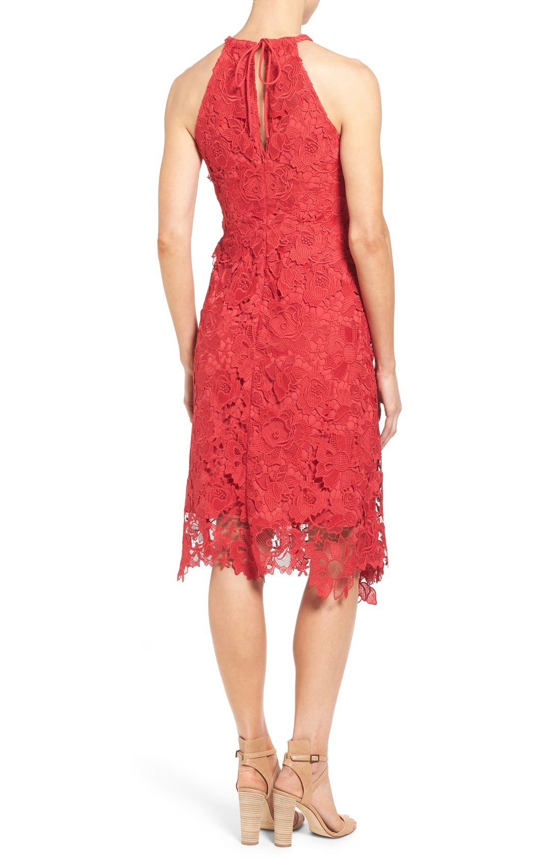 Alternate Image 2  - Kobi Halperin 'Jade' Asymmetrical Hem Halter Style Lace Dress