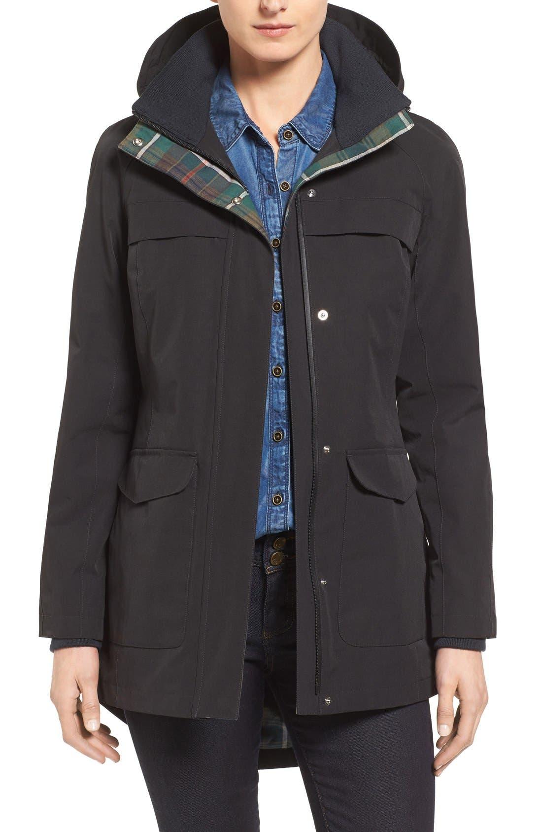 Hooded Raincoat,                             Main thumbnail 1, color,                             Black