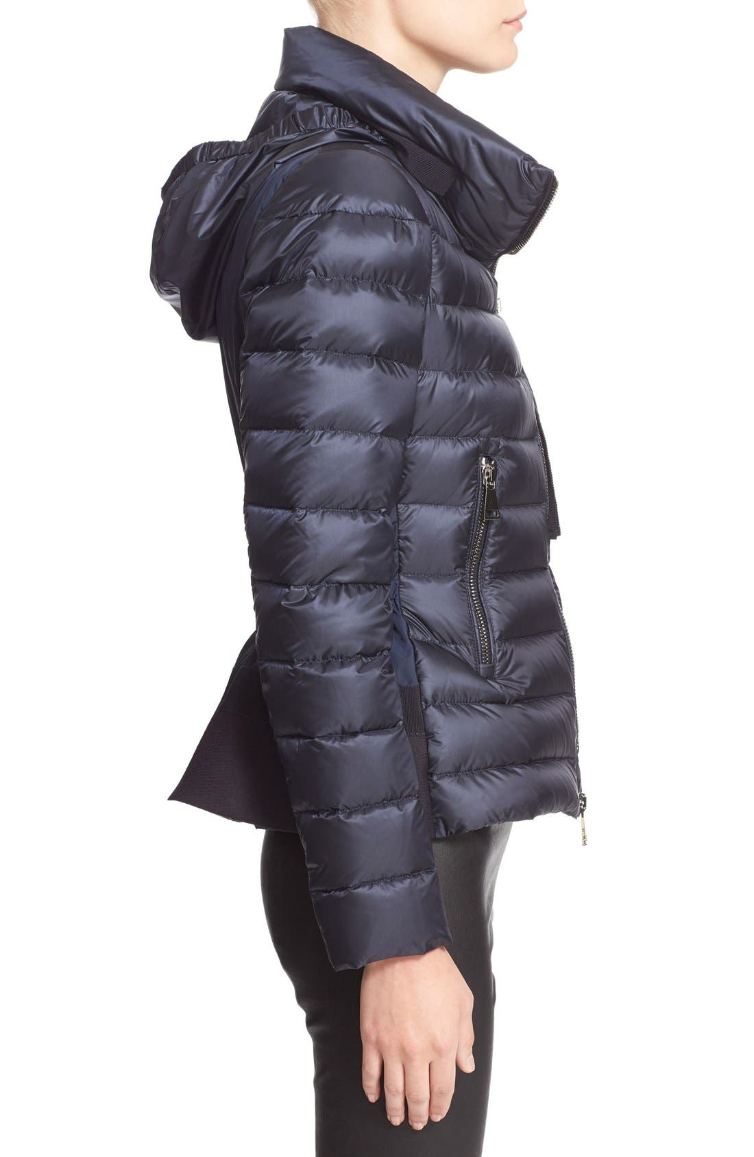 'Agape' Water Resistant Hooded Down Jacket,                             Alternate thumbnail 5, color,                             Navy