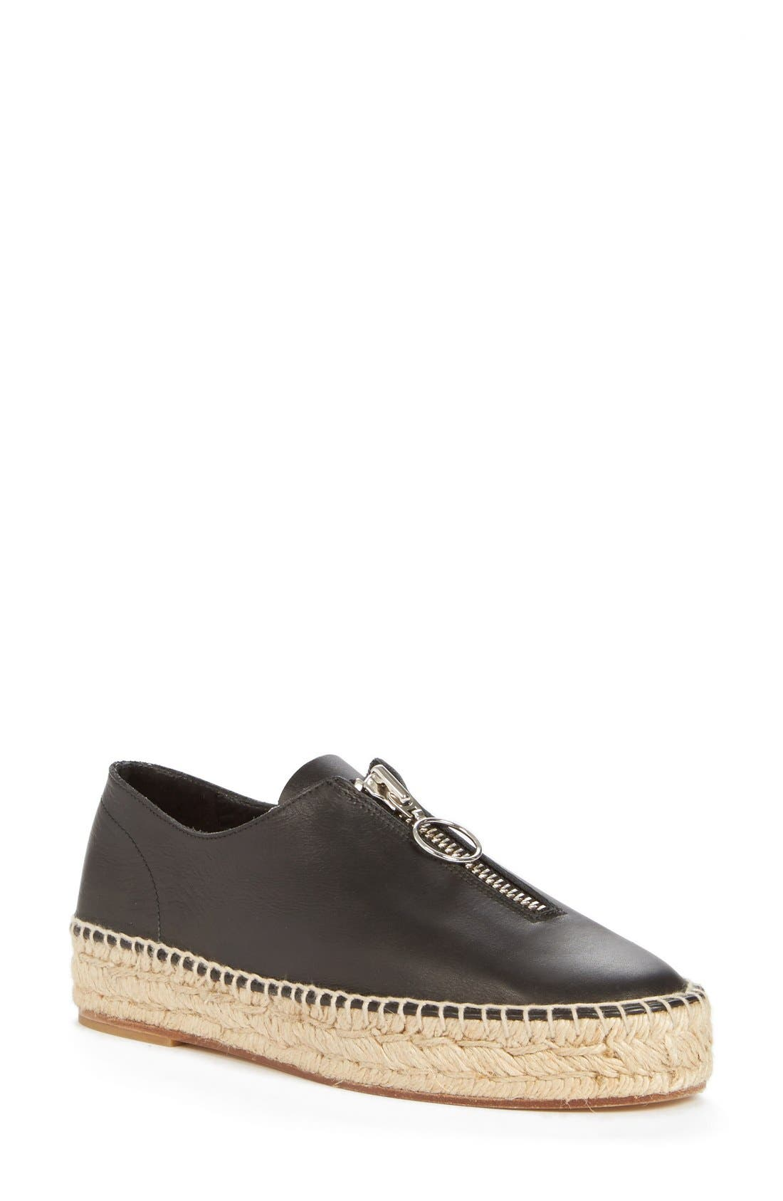 'Devon' Espadrille Flat,                         Main,                         color, Black Smooth Leather