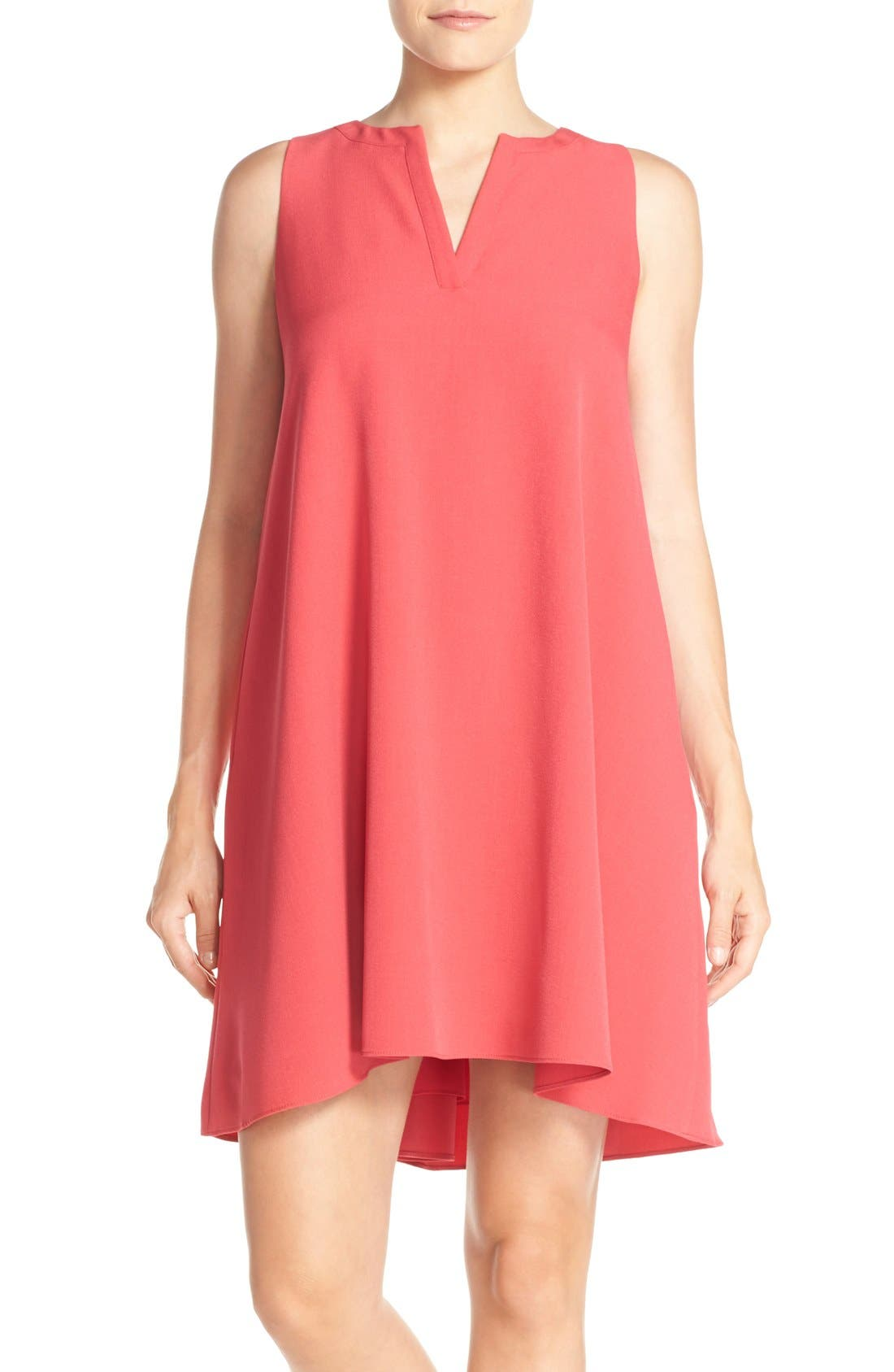 Main Image - Adrianna Papell Split Neck Swing Dress