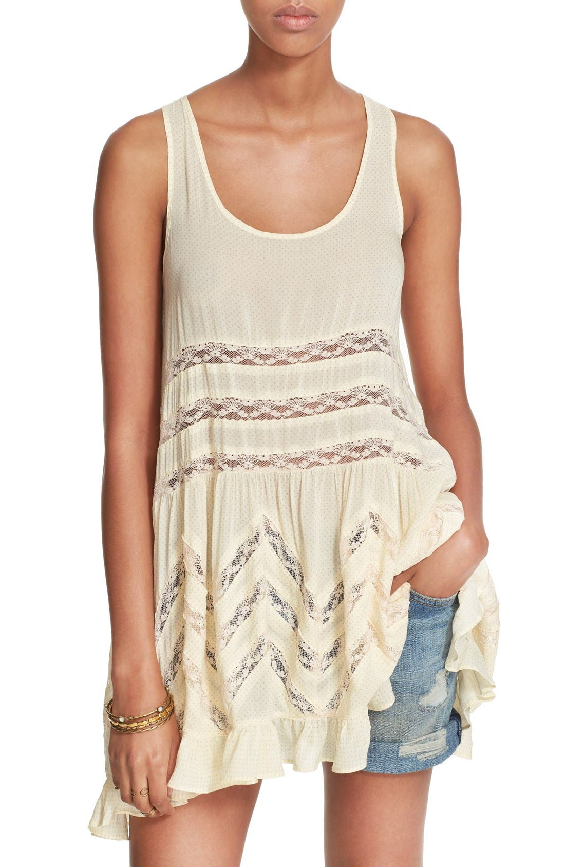 Main Image - Free People Swingy Lace Inset Tunic