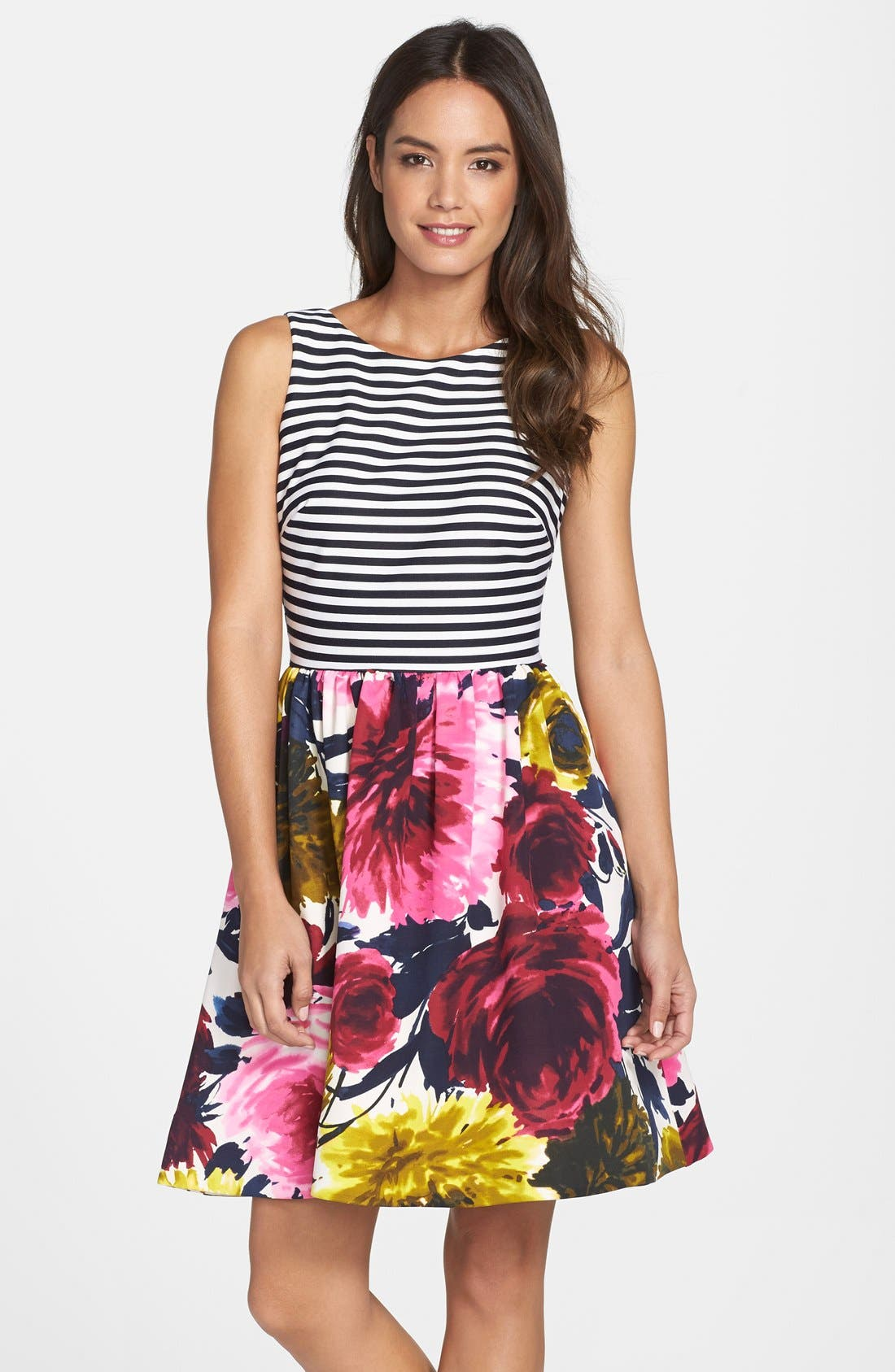 Mixed Print Fit & Flare Dress,                         Main,                         color, Navy Multi