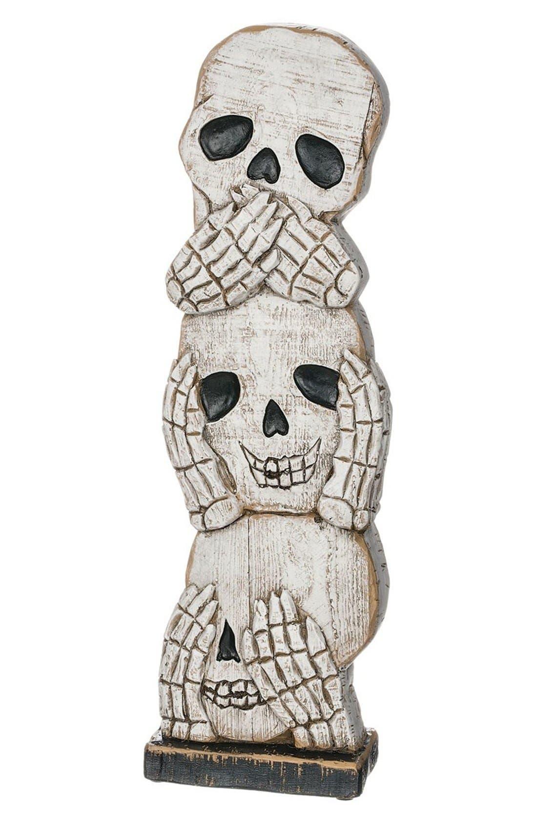 'See No Evil, Hear No Evil, Speak No Evil' Skull Decoration,                             Main thumbnail 1, color,                             White