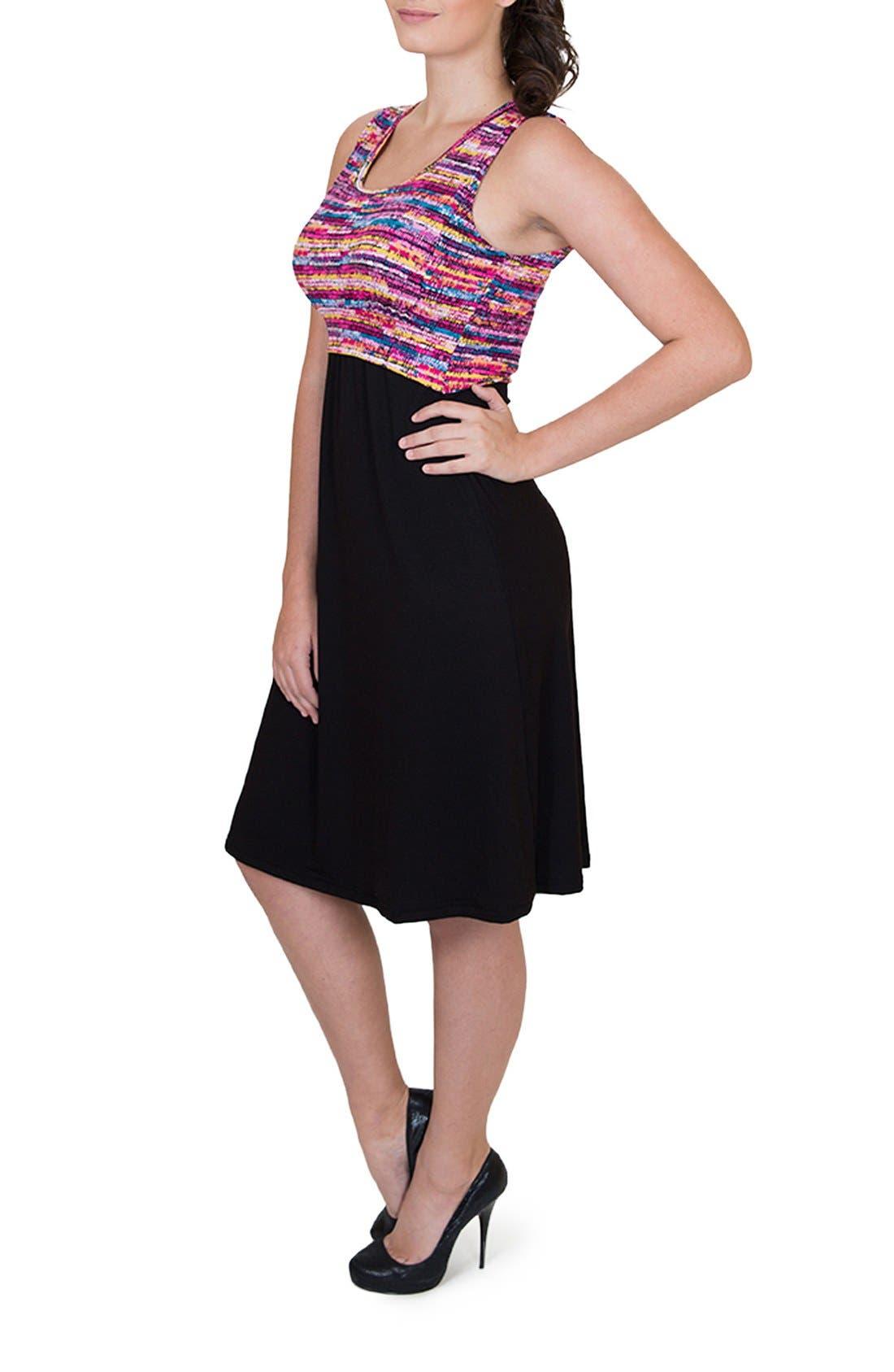 'Ana' Maternity/Nursing Dress,                             Alternate thumbnail 3, color,                             Colorful Top W/ Black Skirt