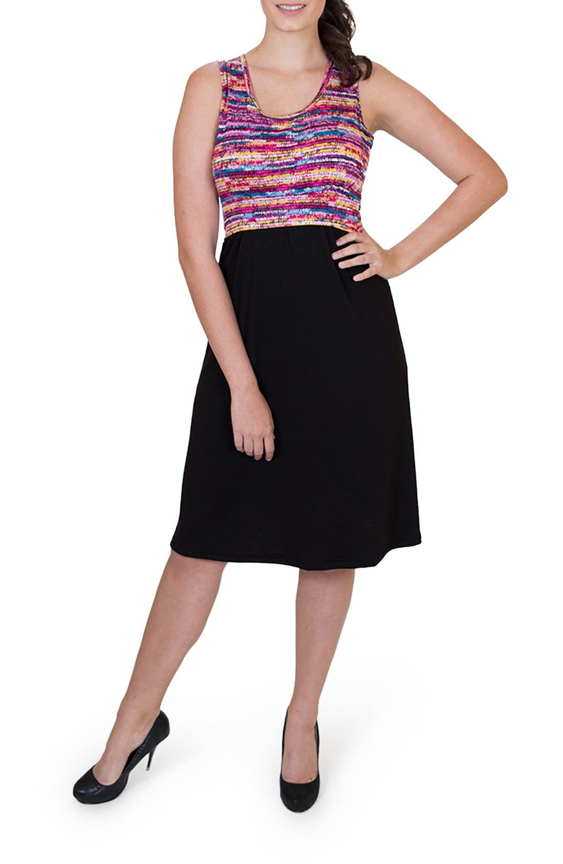 'Ana' Maternity/Nursing Dress,                         Main,                         color, Colorful Top W/ Black Skirt