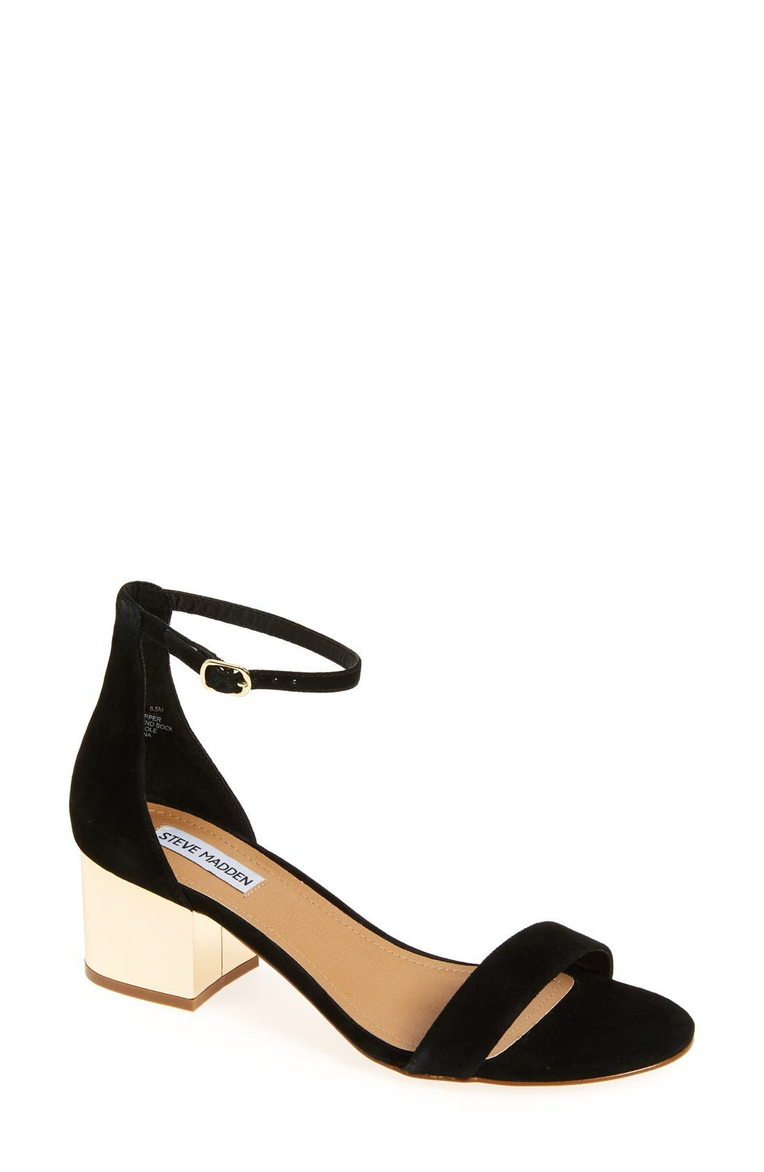 'Irenee-G' Mirror Block Heel Sandal,                             Main thumbnail 1, color,                             Black Suede