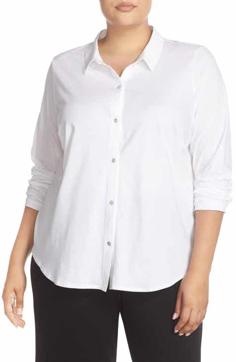 9186336a566 Eileen Fisher Organic Cotton Jersey Classic Collar Shirt (Plus Size)