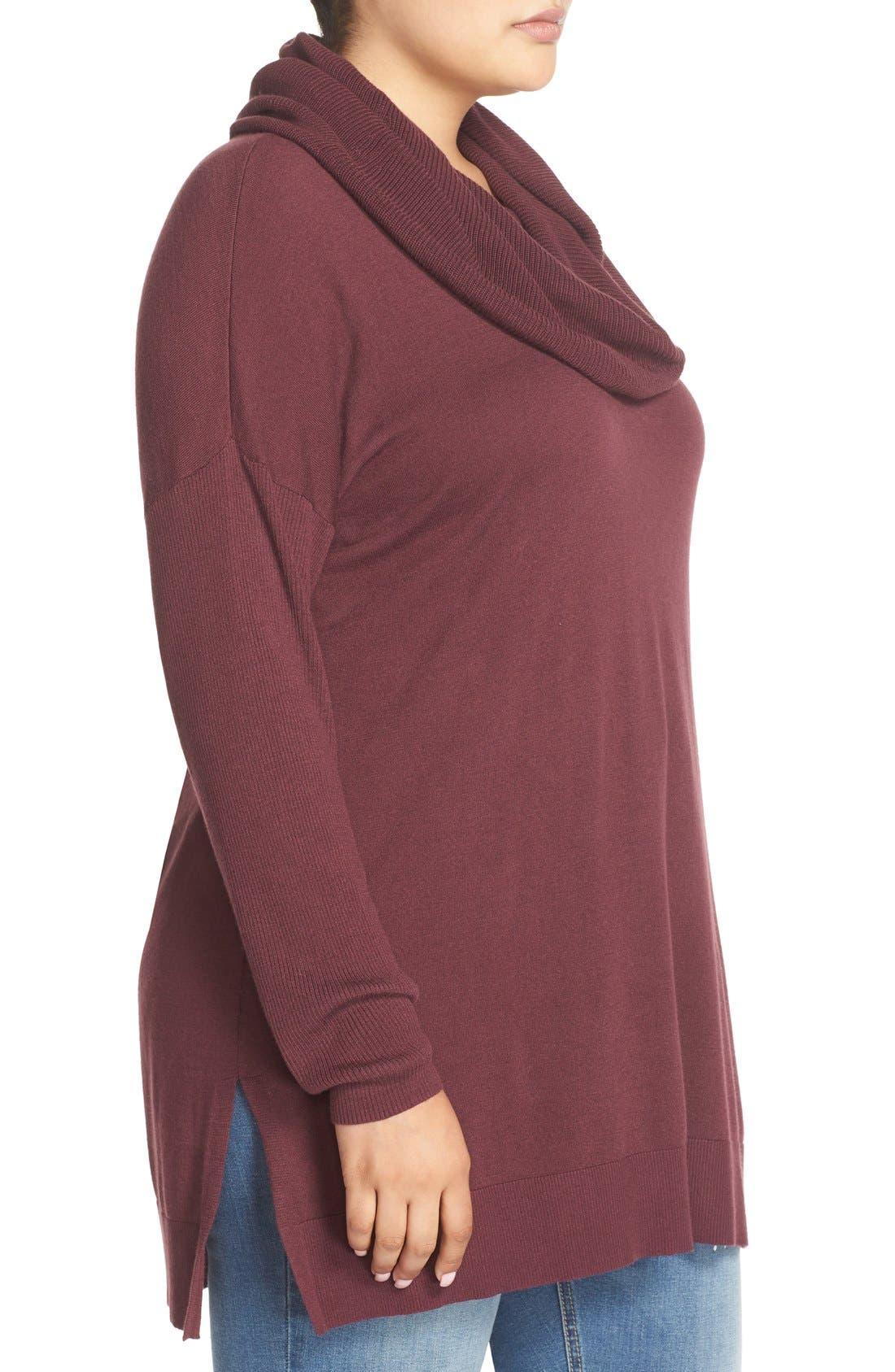 Alternate Image 3  - Caslon® Cowl Neck Tunic Sweater (Plus Size)