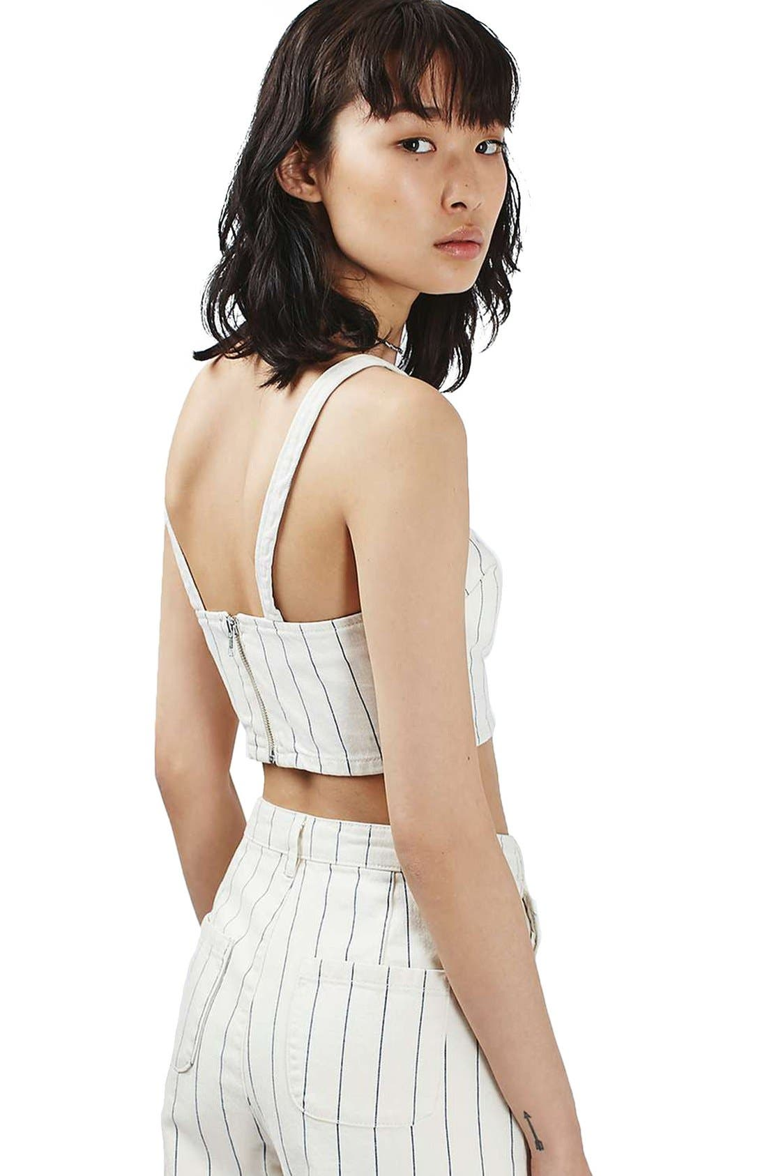 Alternate Image 3  - Topshop Stripe Denim Crop Top