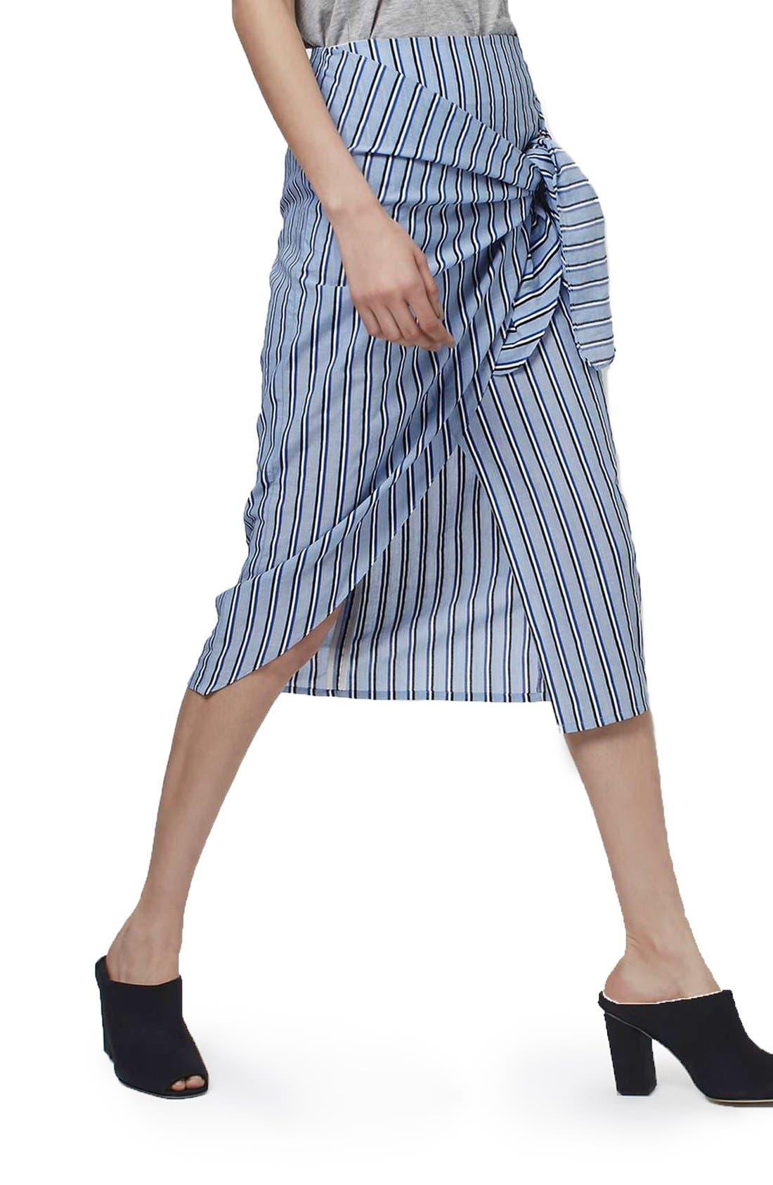 Alternate Image 4  - Topshop Boutique Stripe Faux Wrap Skirt